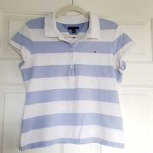 Tommy Striped Polo Shirt, Y2K Style, Boxy, Cropped